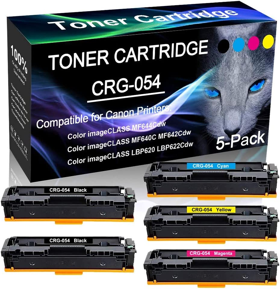 5-Pack Compatible High Capacity CRG-054 Cartridge 054 Toner Cartridge use for Canon Color ImageCLASS MF640C MF642Cdw MF644Cdw Printer Lines-Consistant 2BK+C+Y+M