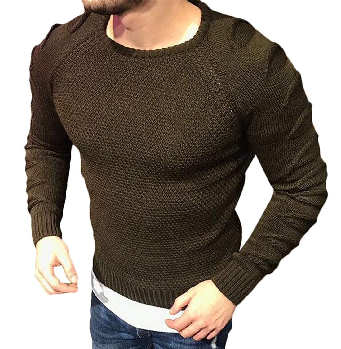 Wilngo Men Long Sleeve Round Neck Slim Thicken Pullover Solid Color Ripped Hole Sweater