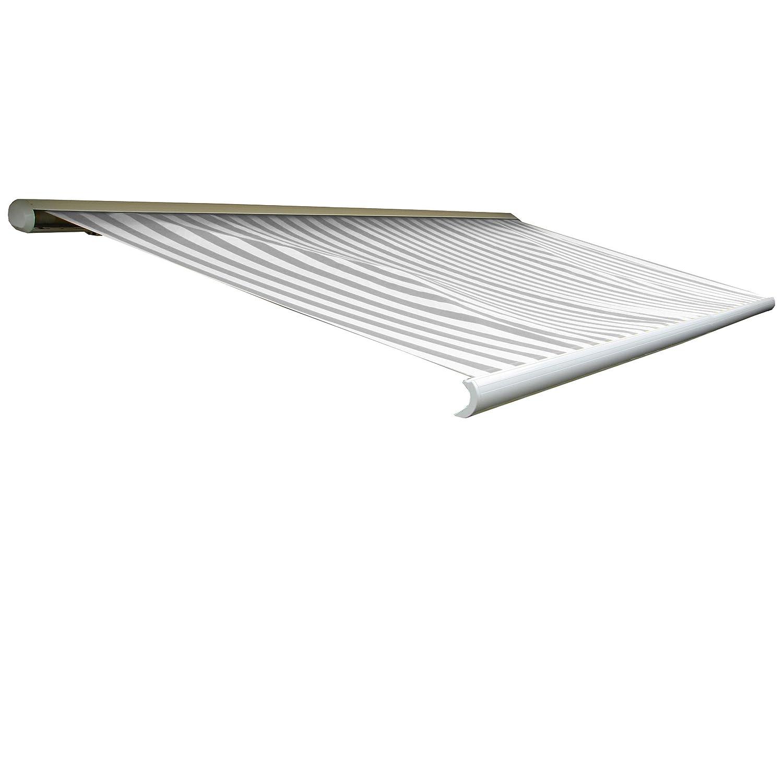 Elektrische Kassettenmarkise T124, Markise Vollkassette 5x3m ~ Acryl Grau/Weiß