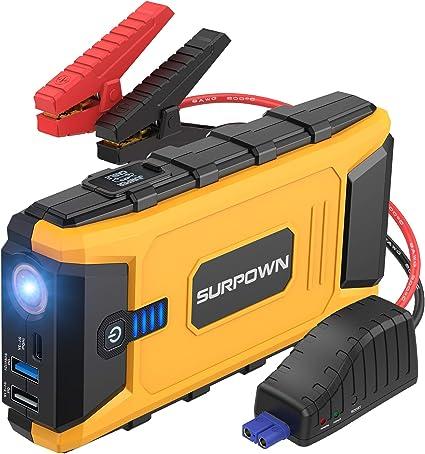 SURPOWN arrancador de coche 1200 A pico, 12 V batería portátil Booster (hasta 8 L gas,