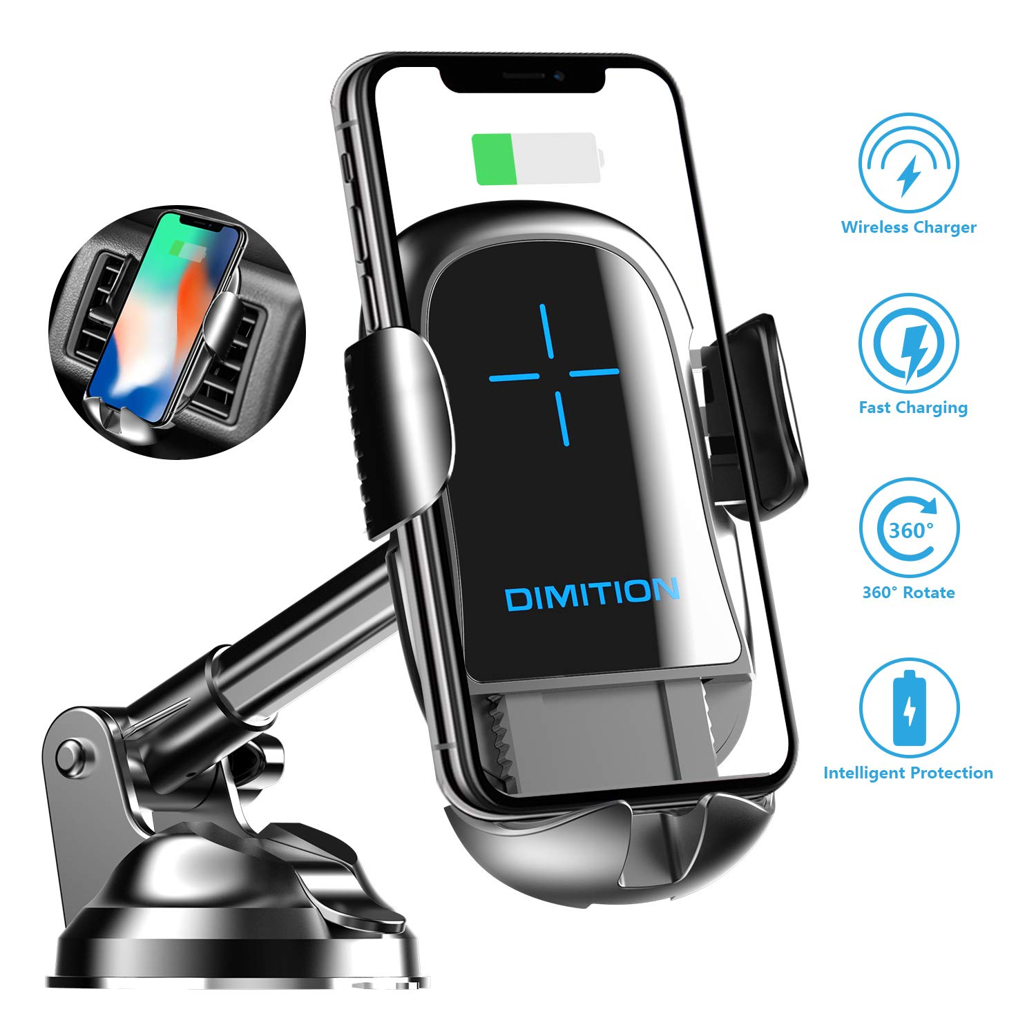 Cell Phone Holder for Car, Automatic Clamping Car Phone Mount Qi Wireless Car Charger Dashboard/Air Vent Car Mount Compatible with iPhone 8 Plus XS Max X 11 Pro, Samsung Galaxy S9 S10 Plus Note 9 10 by DM