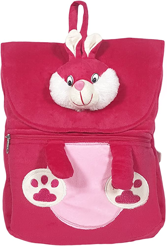Ultra Felt Velvet School Bag with Bunny Soft Toy (Pink)