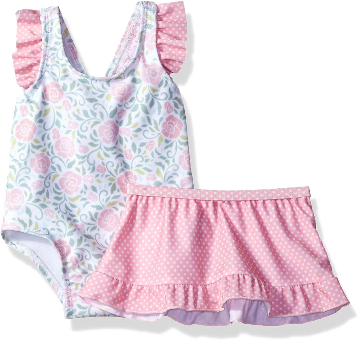 Sol Swim Girls Solo Swim-New Born-rosies Garden One Pc Swimsuit with Skirt