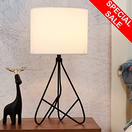 SOTTAE Modern Hollowed Out Shape Base Bedroom Bedside Livingroom Lamp Table  Lamp, White