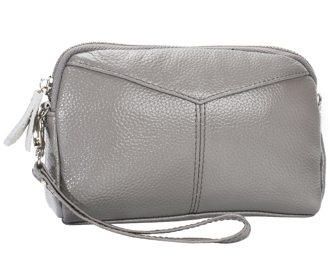 Women's Smartphone Soft Leather Wristlet Purse/Clutch Wallet/Crossbody Bag with Crossbody Strap&Wrist Strap (Gray)