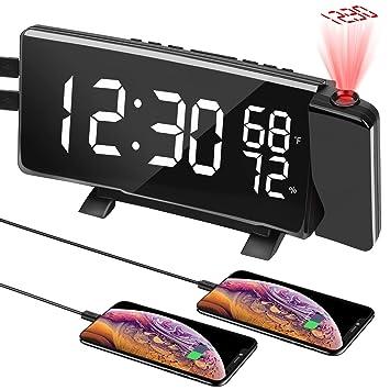 PEYOU[Versión 2019] FM Reloj con Doble Alarma, USB Puerto de Carga ...