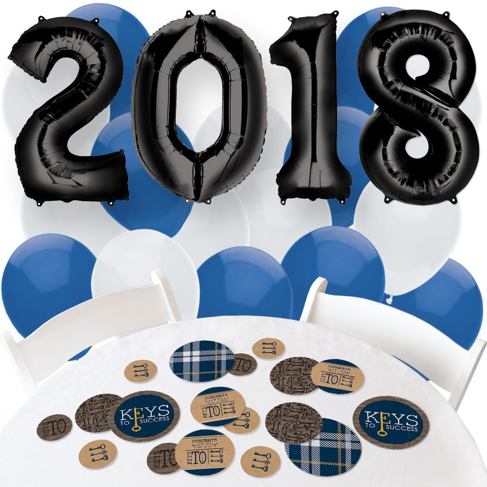2018 Grad Keys to Success - Confetti and Balloon Graduation Party Decorations - Combo Kit