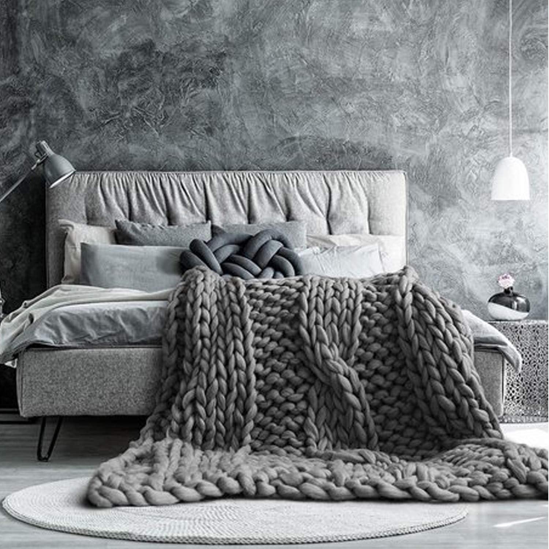Amazon.com: Incarpo - Manta de lana para sofá o cama, tejido ...