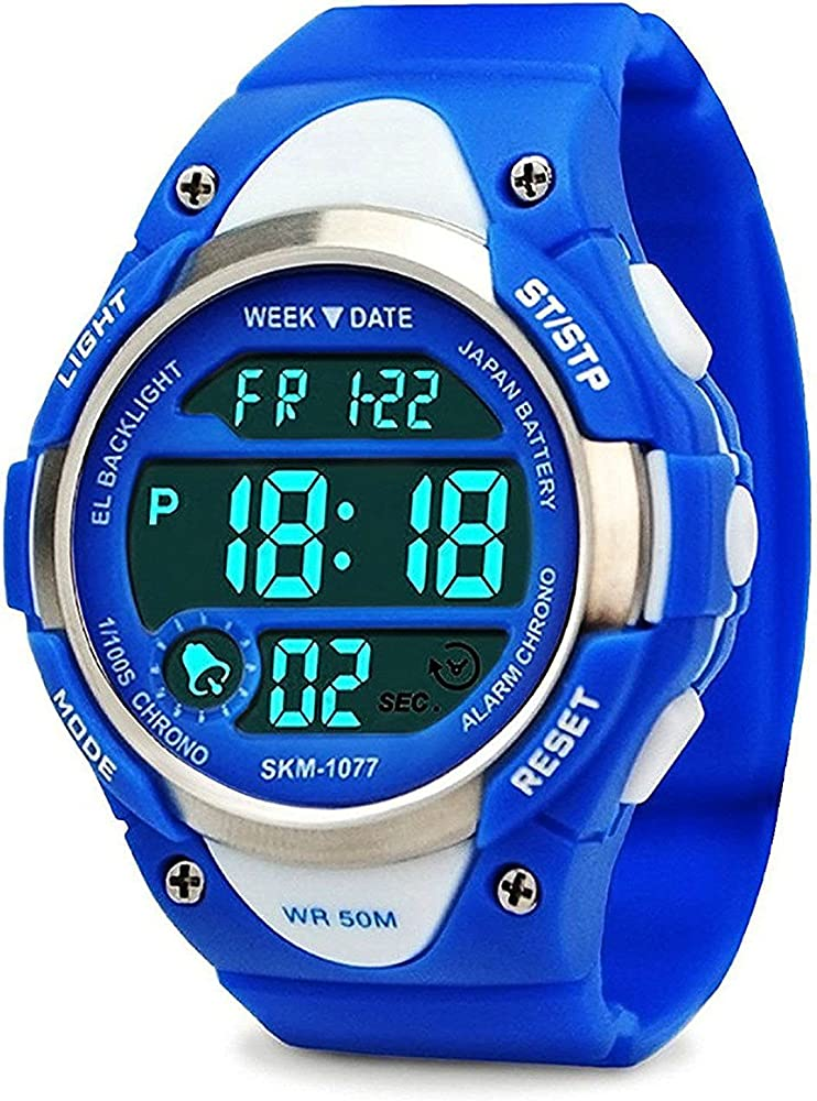 ff6c825d9 Boys Sport Digital Watch, Kids Outdoor Waterproof Electronic Watches with  LED Alarm Stopwatch - Blue