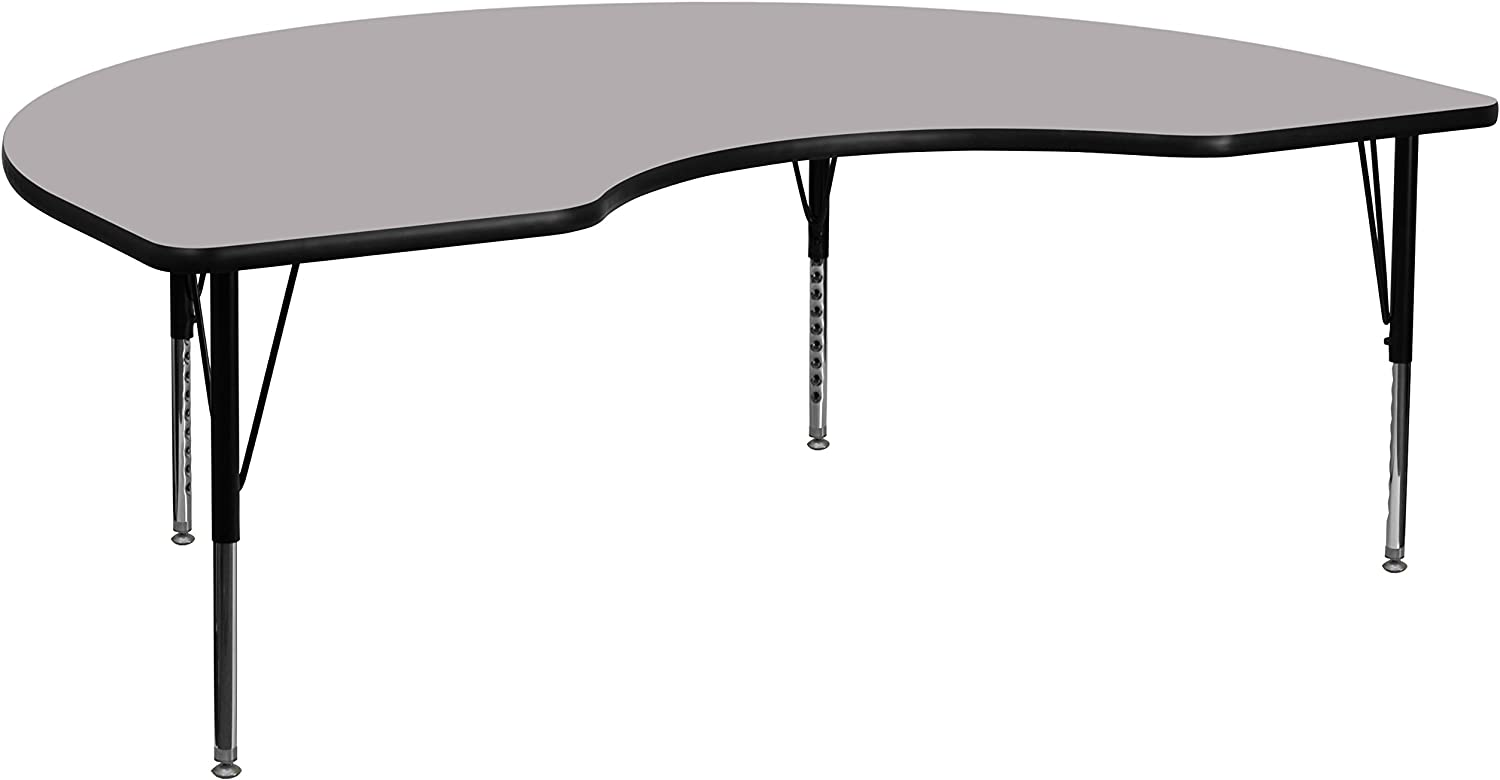 Flash Furniture 48''W x 72''L Kidney Grey Thermal Laminate Activity Table - Height Adjustable Short Legs