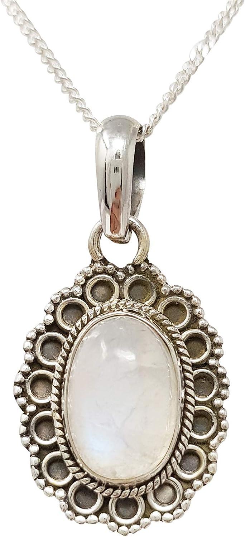 Treasurebay - Colgante de plata de ley 925 con colgante de piedra lunar para mujer
