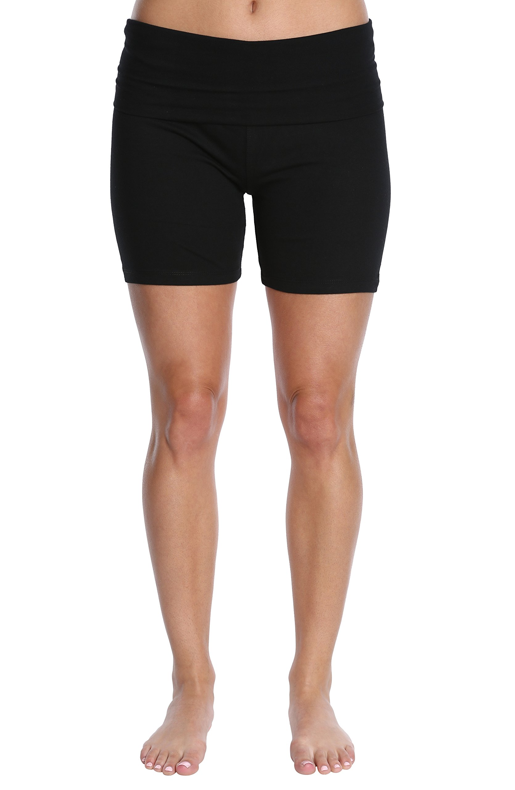 Nouveau Women's Workout Active Yoga Shorts w/Fold Over Waistband - Ladies Casual Loungewear