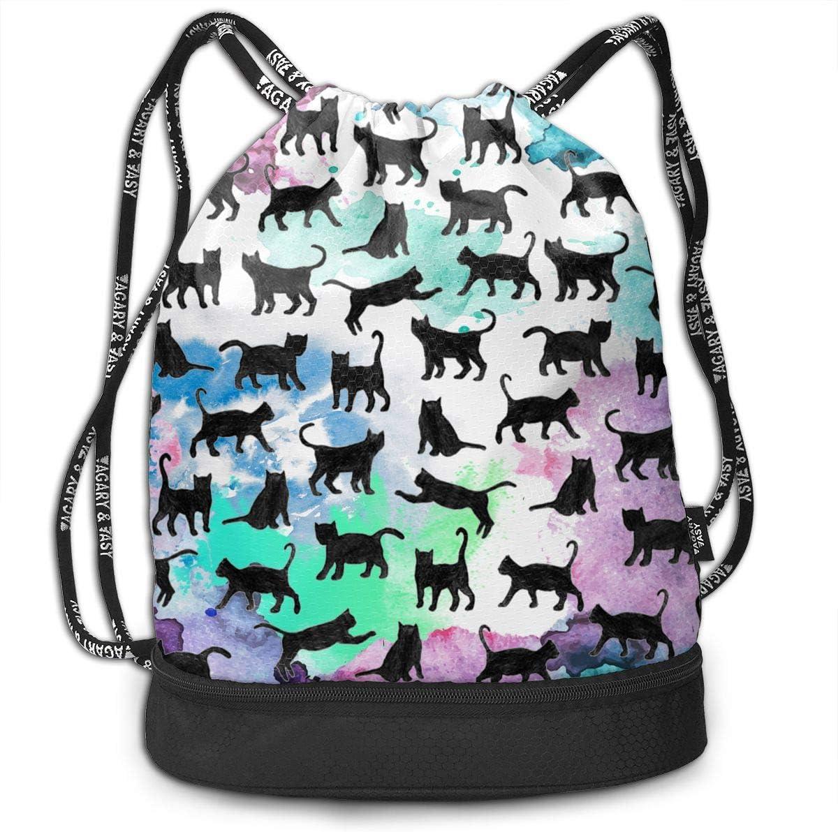 HUOPR5Q Cat Drawstring Backpack Sport Gym Sack Shoulder Bulk Bag Dance Bag for School Travel