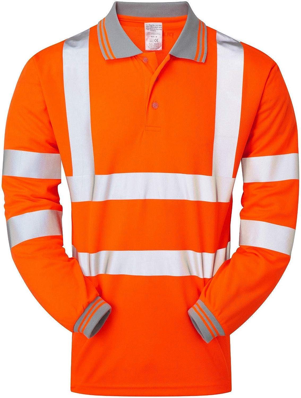 Hi Viz Orange Hi Vis Hi Visibility Rail Spec Polo Shirt