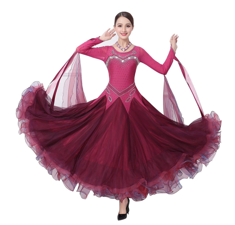 garuda 社交ダンス衣装 レディースダンス高級ダンスドレス 競技ワンピース エレガント サイズオーダー可 B07NTTBH6V 画面色 Large