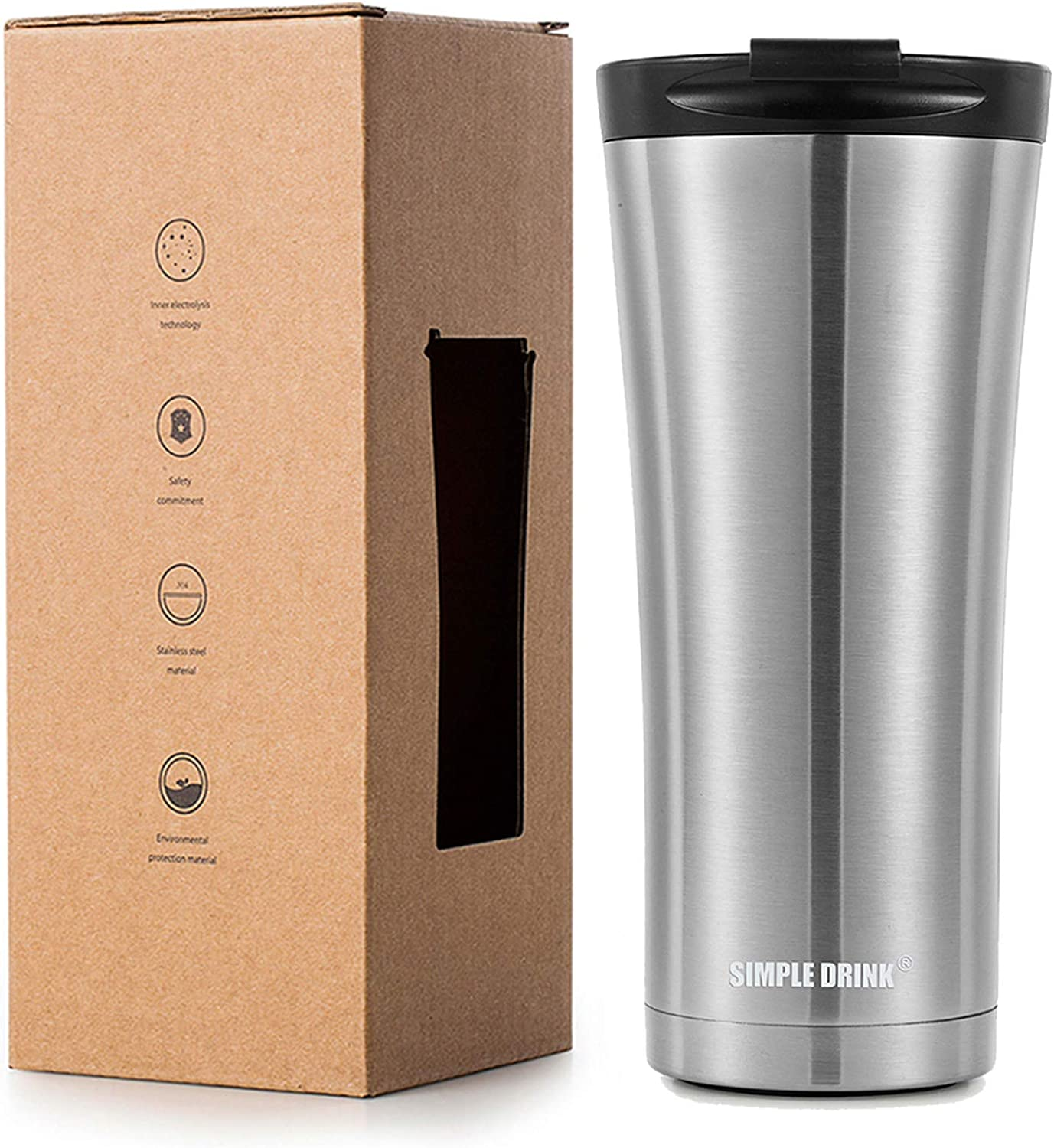 SIMPLE DRINK Insulated Coffee Travel Mug 16 oz | Sturdy Stainless Steel Tumbler Cup with Spill-Proof Lid - Works Great for Ice Drink, Hot Beverage