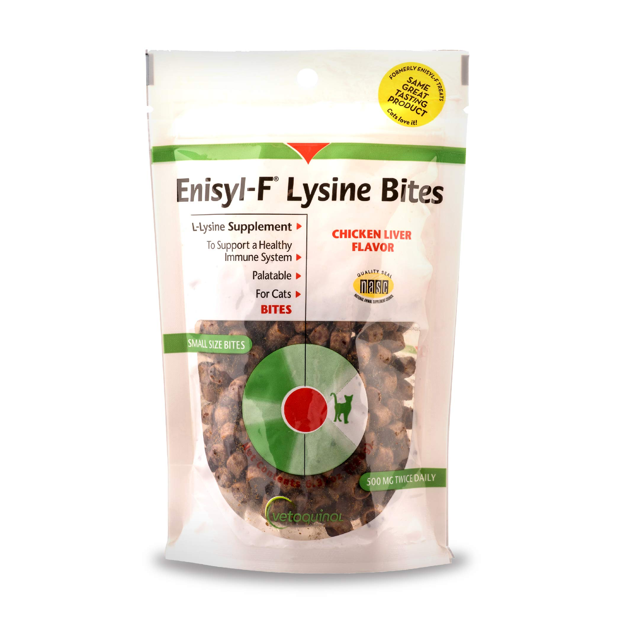 Vetoquinol Enisyl-F Lysine Bites: L-Lysine Chews for Cats & Kittens - Chicken Liver-Flavor, 6.4oz (180g) Reclosable Bag