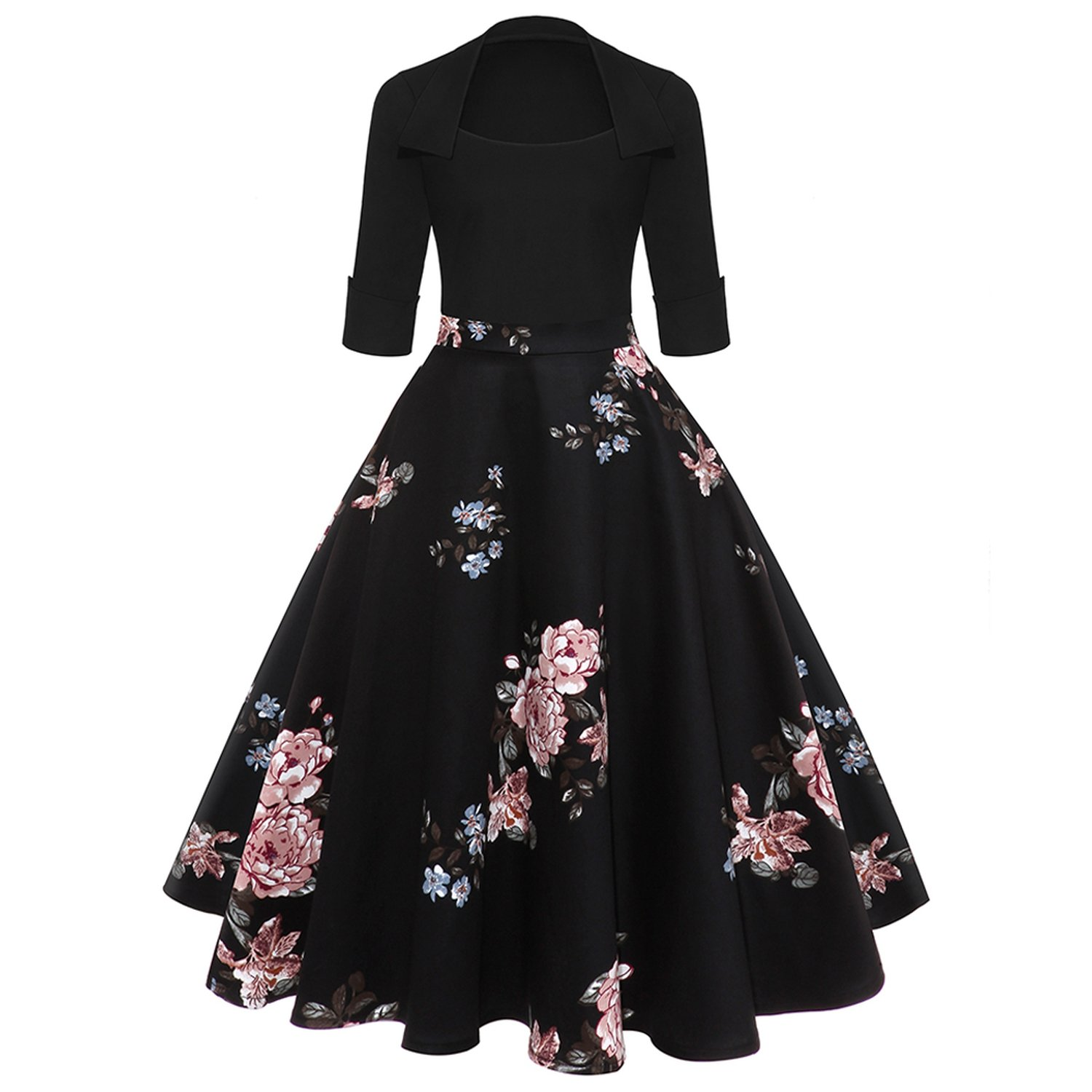 Print High Waist Vintage Dress Women New 2018 Spring Rockabilly Patchwork Swing A-Line Dresses at Amazon Womens Clothing store: