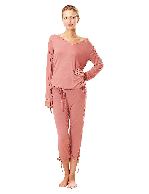 Raikou Schlafanzug Damen Pyjama mit V-Ausschnitt Hausanzug Freizeitanzug aus Viskose bequem komfortable Nachtw/äsche Lang/ärmlig Zweiteilig Jacke und Hose