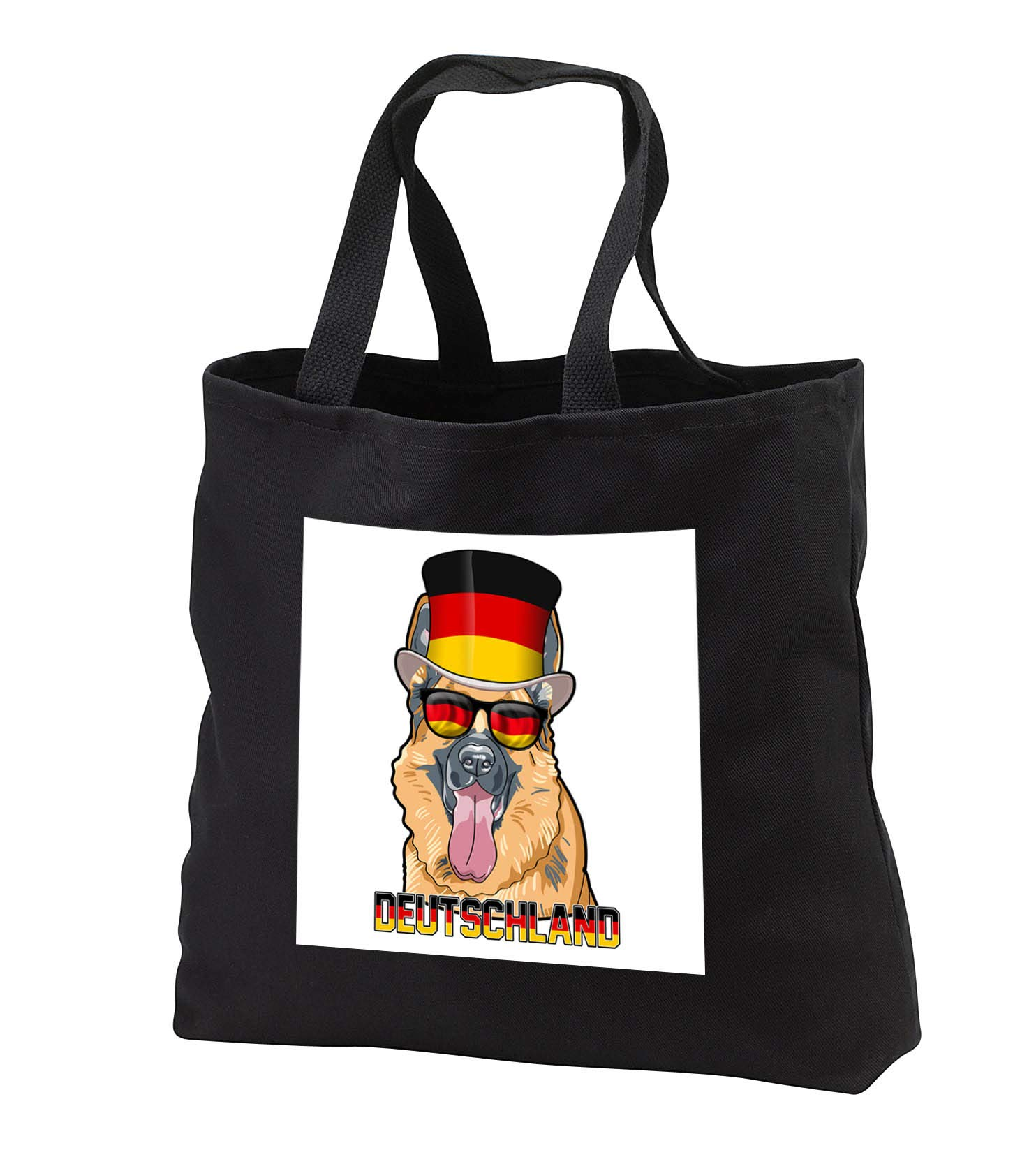 Carsten Reisinger - Illustrations - German Shepherd Dog with Germany Flag Top Hat and Sunglasses - Tote Bags - Black Tote Bag JUMBO 20w x 15h x 5d (tb_293427_3)
