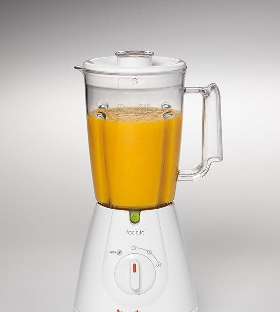 Moulinex Faciclic - Batidora de vaso, 400 W, jarra plástico de 1.25 L, 2 velocidades, color blanco: Amazon.es: Hogar
