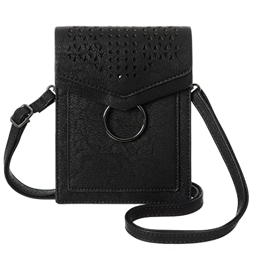MINICAT Women Portable Small Crossbody Bags Cell Phone Purse Wallet With  Credit Card Holder(Black 4c1db3c5d600b