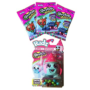 Shopkins Snow Crush Toy Candy Dispenser With 3 Packs Of Refill Gluten Peanut FREE