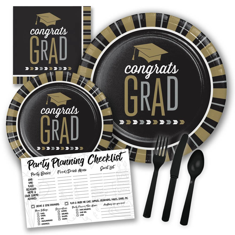 Black and Gold Congrats Grad Graduation Themed Party Supply Pack Bundle - Serves 8 Guests, 2018 Graduation Party Supplies