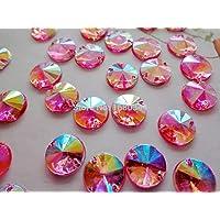 Coser sobre brillantes rosa AB Color gemas redondo