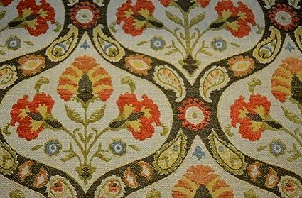 Amazon Com Tan Orange Heavy Chenille Tapestry Damask Upholstery