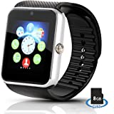 Hiwatch Bluetooth Smart Watch Android Phone Watch with 8GB Micro SD Card, Black (not including SIM Card)