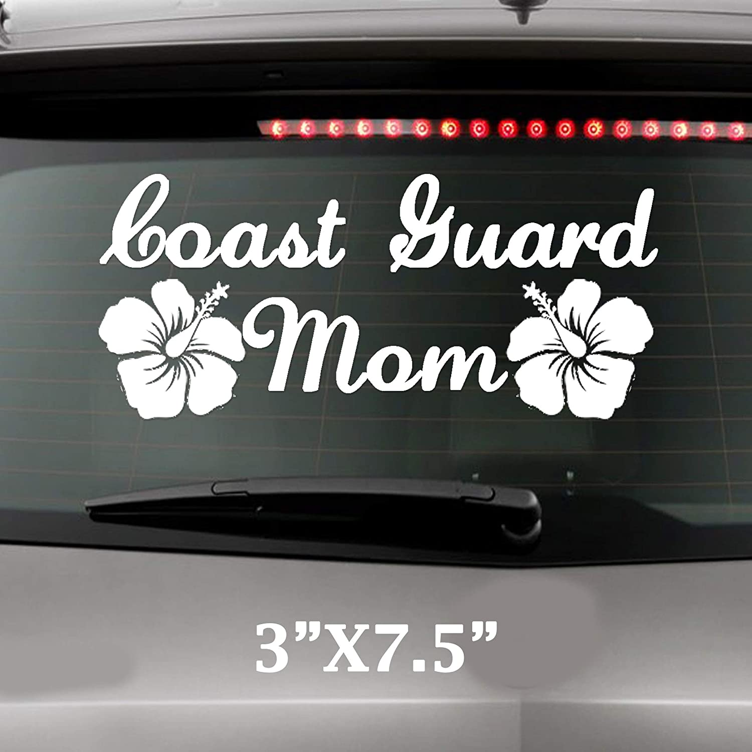 Coast Guard Mom With Hibiscus Flowesr Military United States Solider Decal
