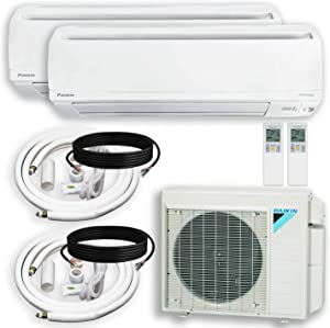 DAIKIN Dual (2 Zone) Air Conditioner Heat Pump + Maxwell 15 ft. Installation Kit + Wall Bracket (12000 + 18000 BTU)