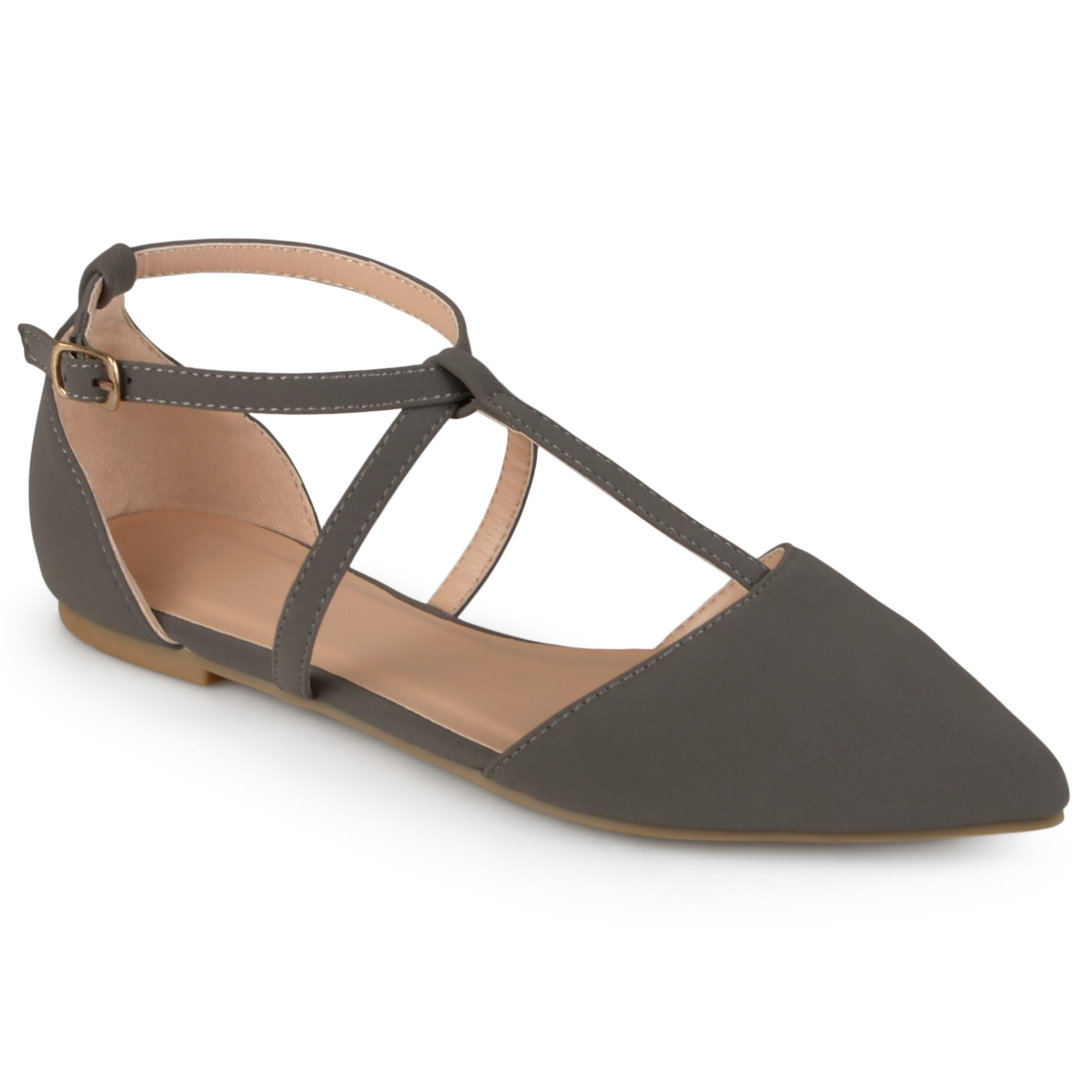 Journee Collection Womens Pointed Toe Ankle Wrap T-Strap D'Orsay Flats Grey, 11 Regular US