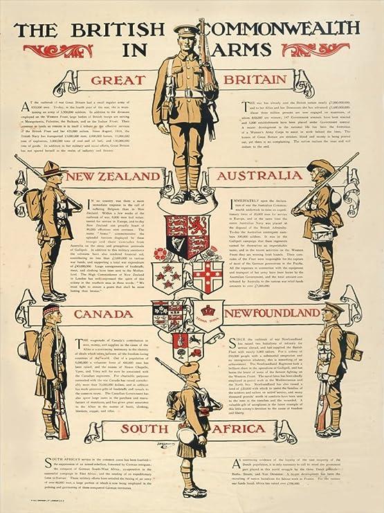 THE BRITISH COMMONWEALTH IN ARMS British WW1 Propaganda Poster
