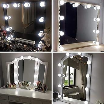 Led Spiegelleuchte, Hollywood Stil 10 Dimmbar Schminklicht 6000K Make Up  Licht, Schminktisch Leuchte, Schminkleuchte, Spiegellampe für ...