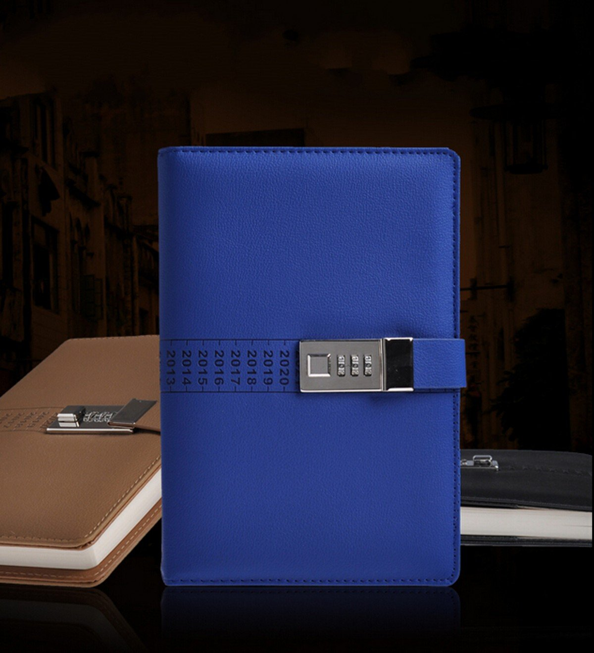 A5 PU Leather 8½'' x 6''-Inch Locking Journal Diary Travel Journals Note Book , Dark Blue