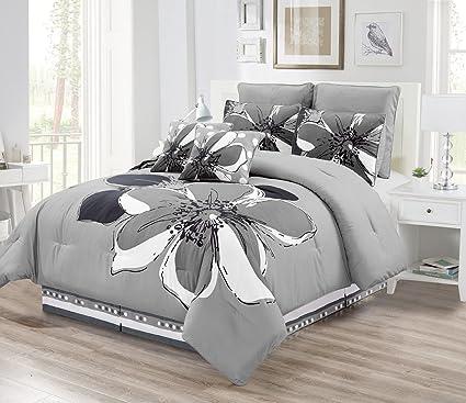 Amazon Com 8 Piece Grey Gray Black White Floral Comforter