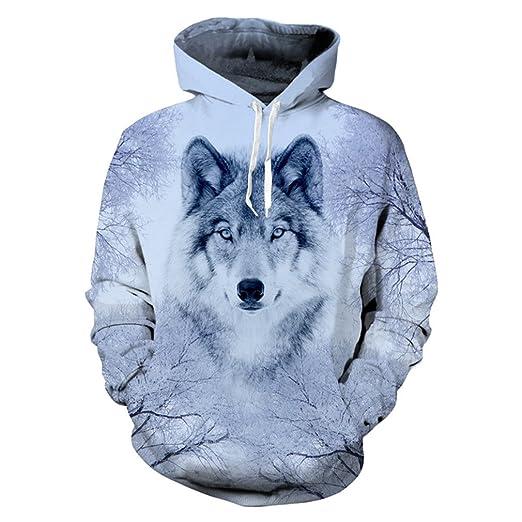 Wolf Hoodies 3D Print Sudadera con capucha de hombre lobo Animal Hip Hop Sudadera con bolsillos grandes de Unisex oyzrBvEu