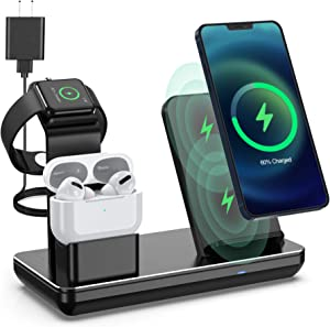 Wireless Charging Station,3 in 1 Fast Wireless Charger for iPhone 12 Pro Max/XR/XS Max/11 Pro Max, Apple Watch Charger Stand for Apple Watch SE/6/5/4/3/2/1 and AirPods Pro/2 (18W Adapter Included)