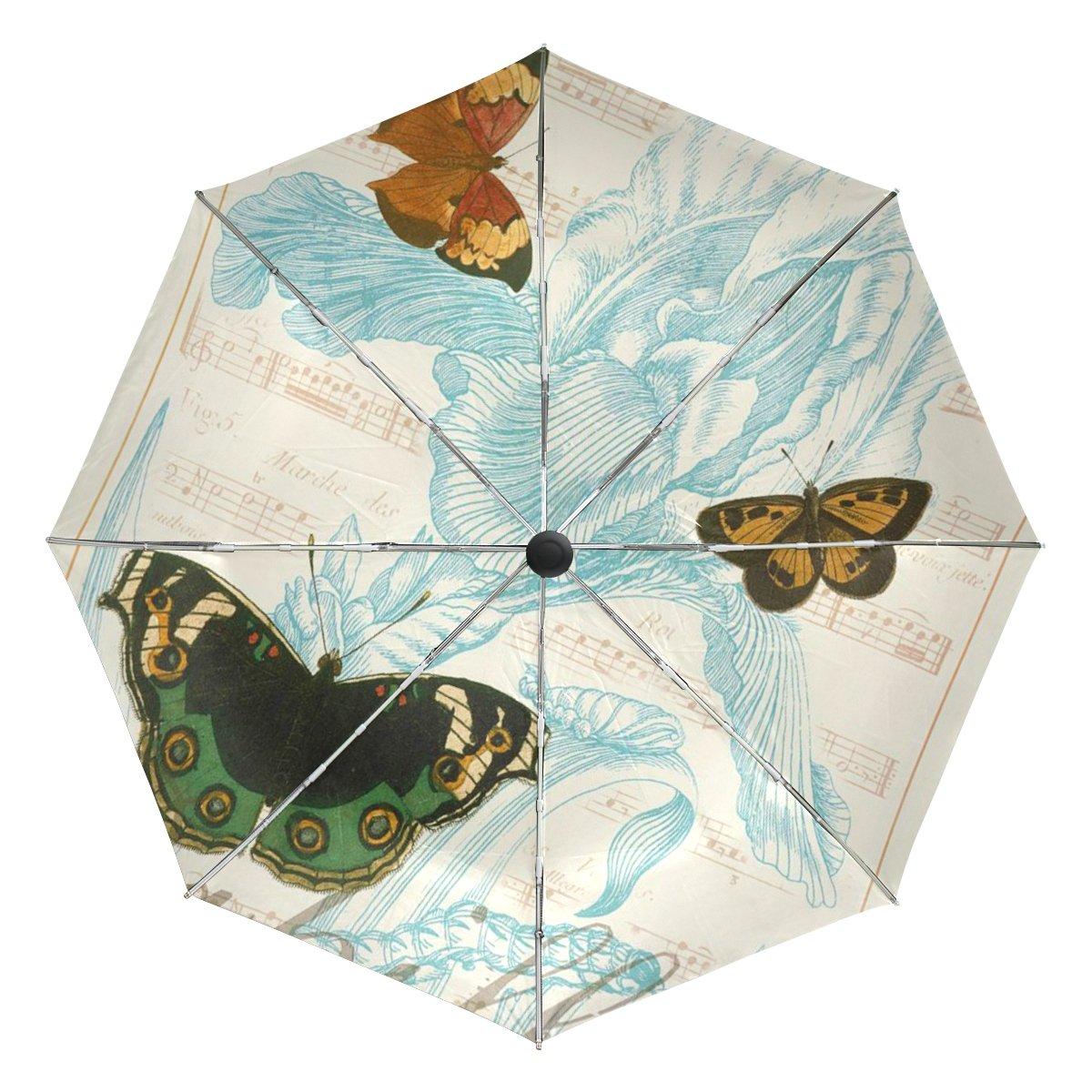 baihuishop flor mariposa resistente al viento Golf Paraguas Auto abierto cerca de 3 plegable resistente protección UV paraguas de viaje compacto ligero ...