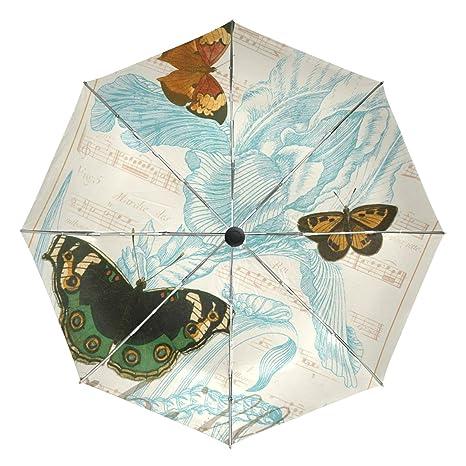 c9d523a0adf8 Amazon.com : BAIHUISHOP Flower Butterfly Windproof Umbrellas Auto ...