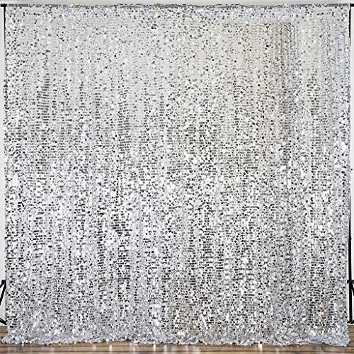 BalsaCircle 20 feet x 10 feet Silver Big Payette Sequin Backdrop Drapes Curtains - Wedding Ceremony Party Photo Booth Home Windows by BalsaCircle