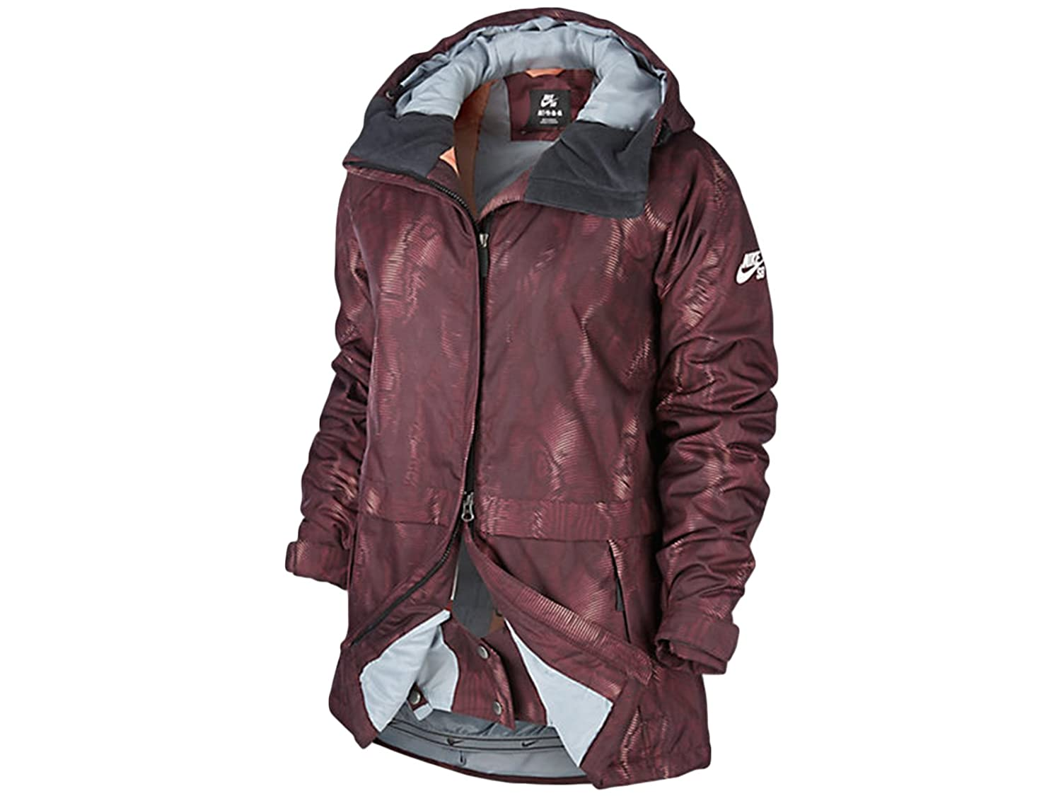 94adeea25699 Nike SB Lustre Print Snowboarding Jacket Burgundy Mango 626081-634 (S)   Amazon.in  Clothing   Accessories