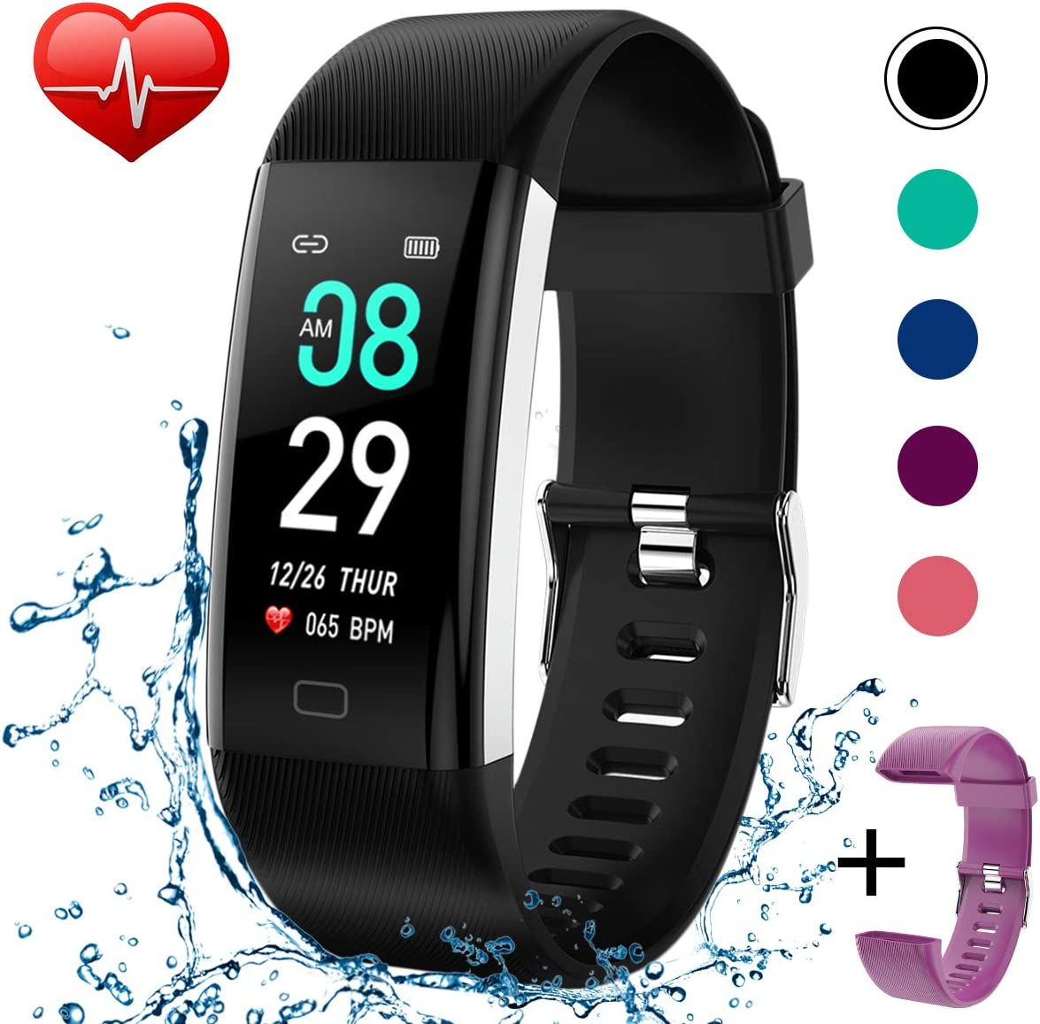 Beaulyn Fitness Tracker Watch Heart Rate Monitor-1.14 Color Screen IP67 Waterproof Activity Tracker,Sleep Monitor,Pedometer Smart Wrist Band for Women Men, Android iOS