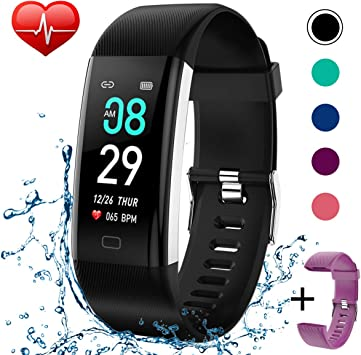 KITPIPI Fitness Tracker Activity Tracker Watch with Heart Rate Monitor, Pedometer Waterproof Smart Watch Sleep Monitor, Step Counter, Calorie Counter, ...