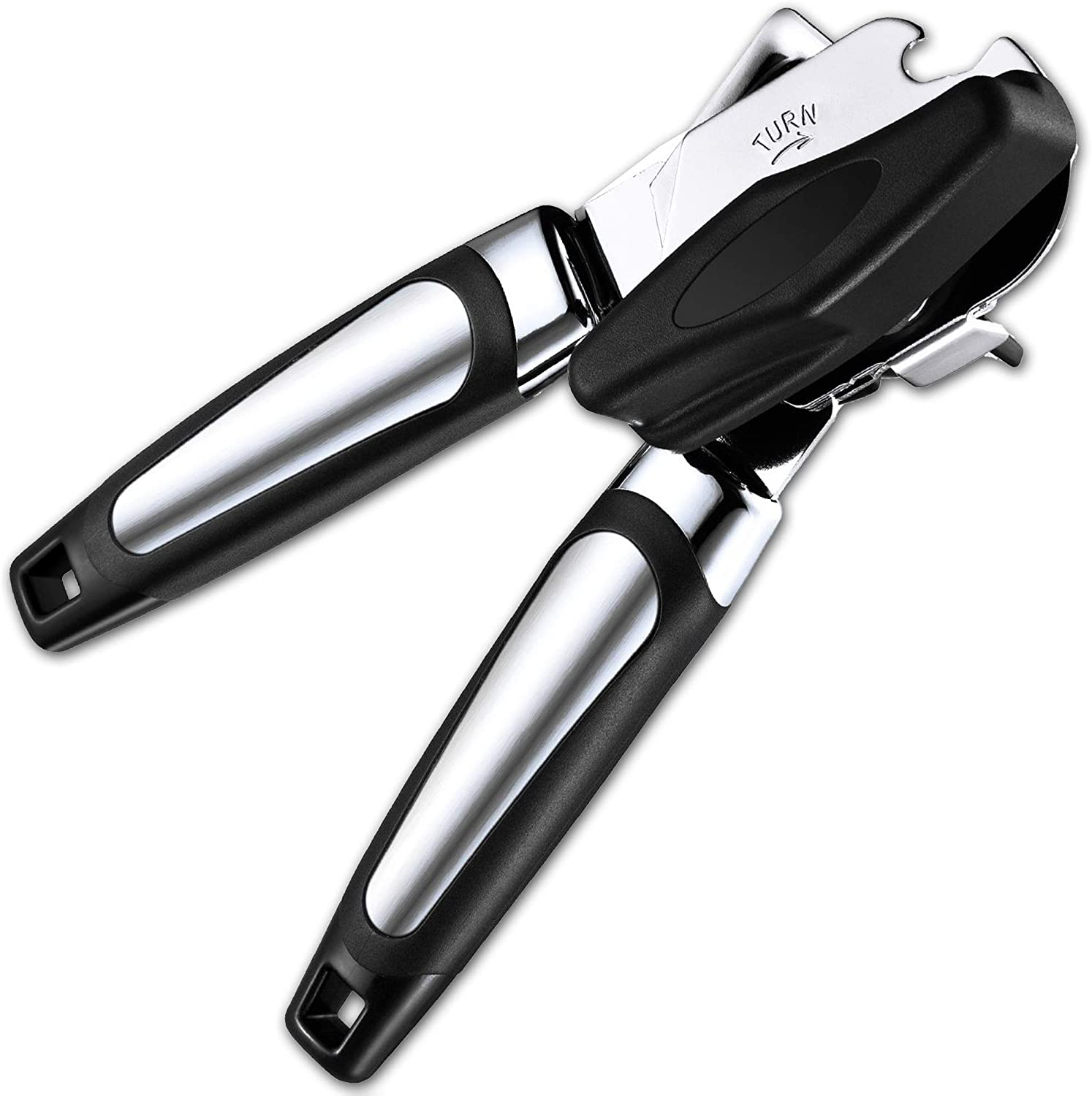 Can Opener Strongest Heaviest Duty, Best Jar Opener & Tin Opener, Manual Good Grips Anti-slip Hand Grip, Stainless Steel Sharp Blade, Ergonomic and Easy to Use, with Large Turn Knob