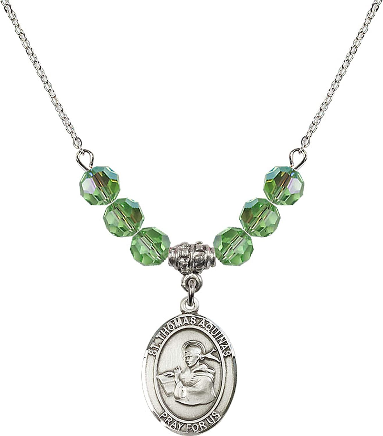 Bonyak Jewelry 18 Inch Rhodium Plated Necklace w// 6mm Green August Birth Month Stone Beads and Saint Thomas Aquinas Charm