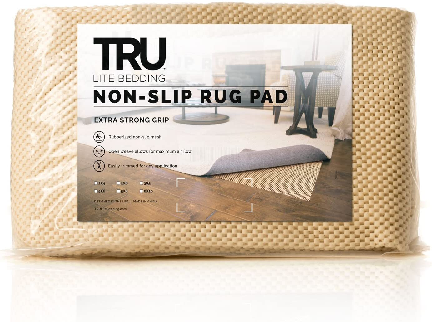 TRU Lite Extra Strong Rug Gripper - Non Slip Furniture Pad - Indoor Carpet Pad for Hardwood Floors - Anti Skid Mat - Anchors Rugs to Floors - Trim to fit Any Size - 2' x 4'