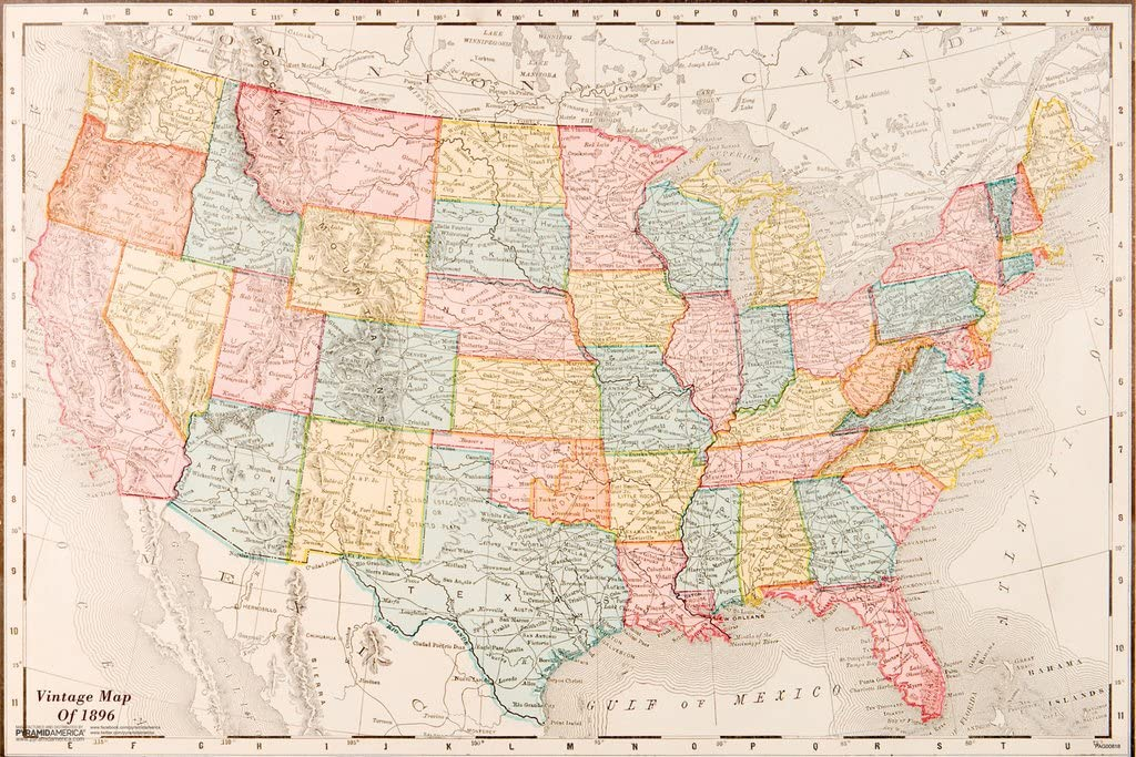 Pyramid America Map of United States USA 1896 Vintage Travel Decorative Reference Educational Art Cool Wall Decor Art Print Poster 18x12